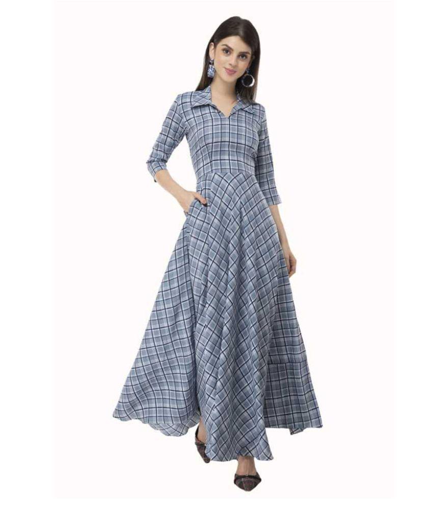 Anuna's Women Western Wear Maxi Dress Blue Crepe Gown