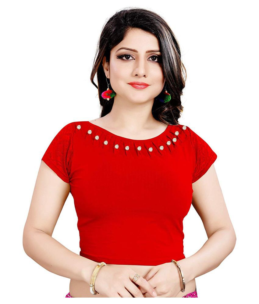 Gopalvilla Red Cotton Semi Stitched Blouse