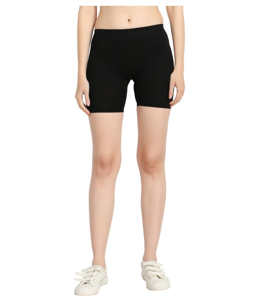 Diaz Black Cotton Lycra Solid Shorts