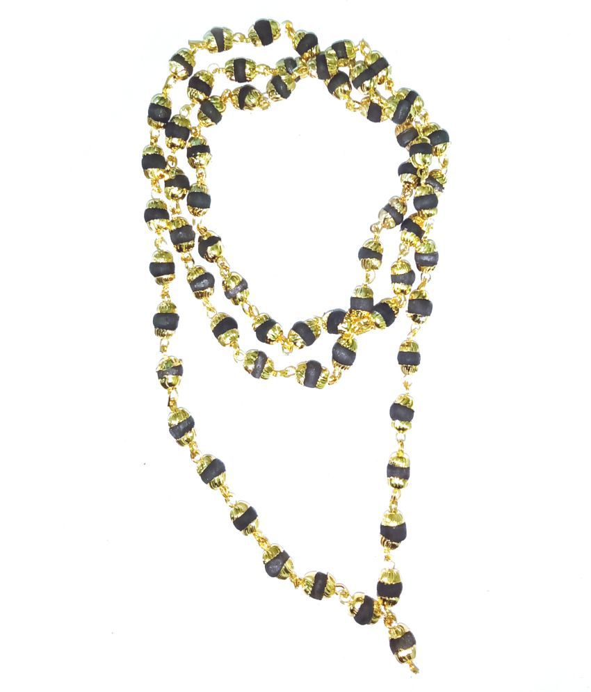 Original Black Tulsi Mala With Golden Cap
