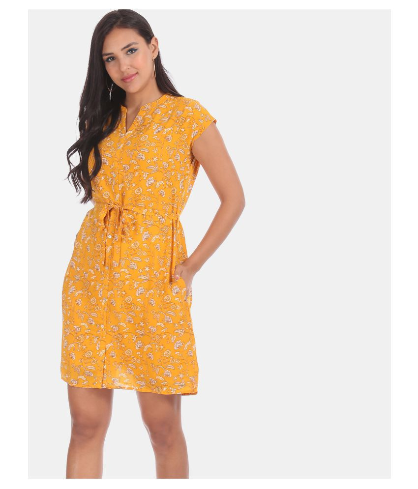 Cherokee Polyester Yellow Regular Dress