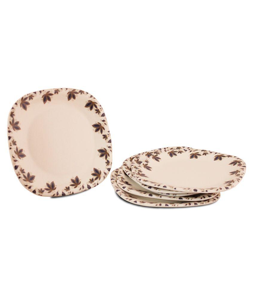 White Gold 6 Pcs Melamine Half Plate