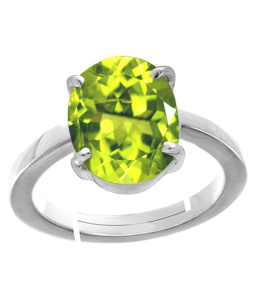 Todani Jems® 9.25 Ratti  Certified  Green Peridot  Silver with White matel Adjustable Ring/Anguthi for Men and Women