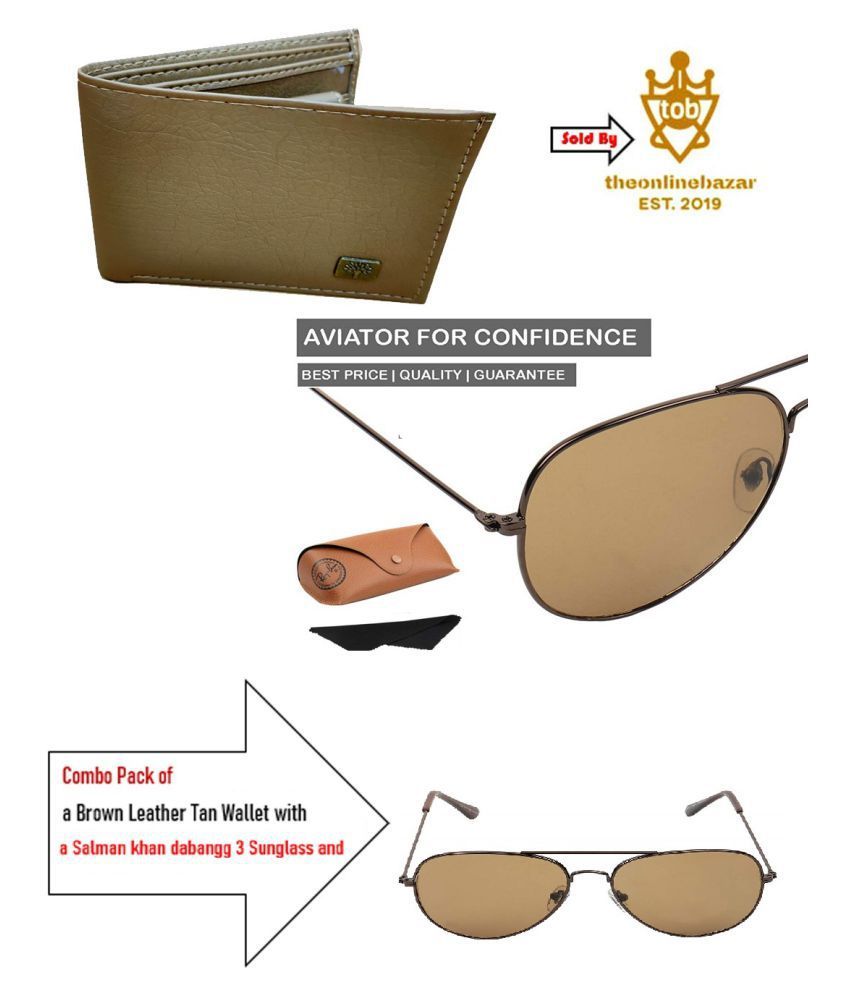 Combo Pack of a Brown Leather Tan Color Wallet along with a Salman Khna dabangg3 sunglass