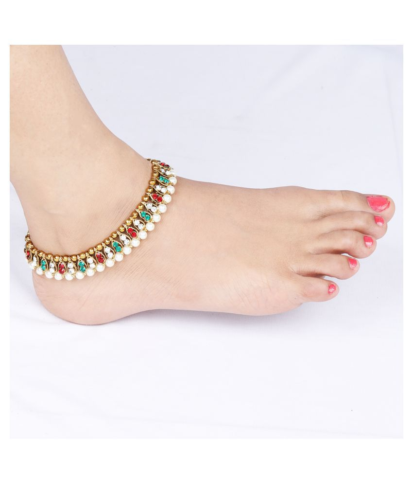 SILVER SHINE Gold Plated Multi Color Kundan Anklet for Women And Girl.