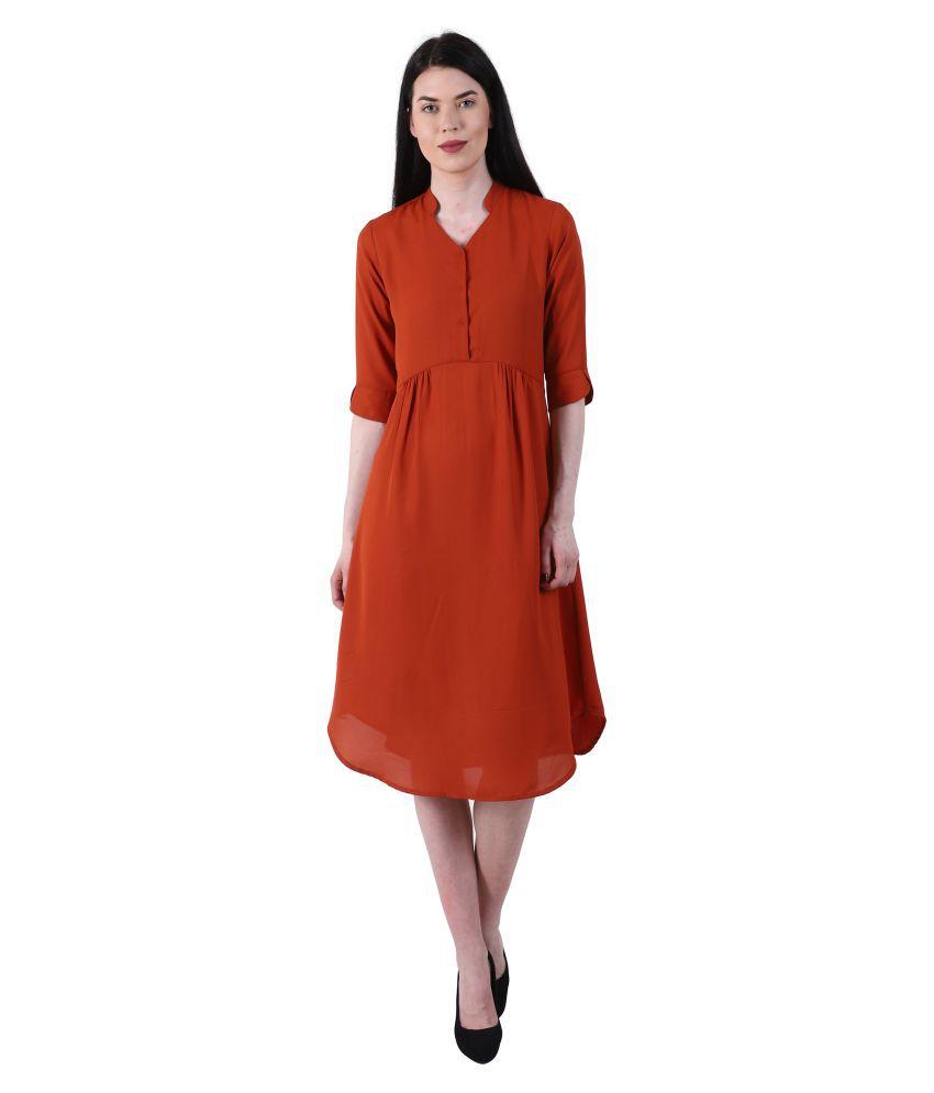 GALWIZ Georgette Rust A- line Dress