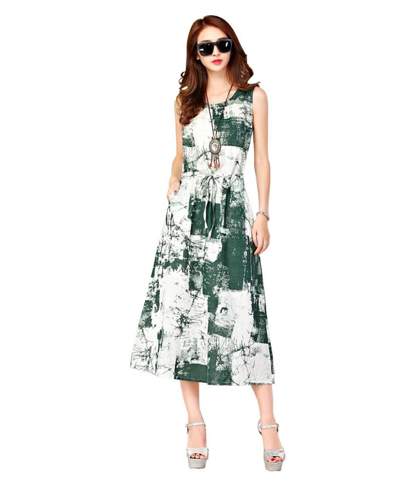 Ritsila Cotton Green A- line Dress