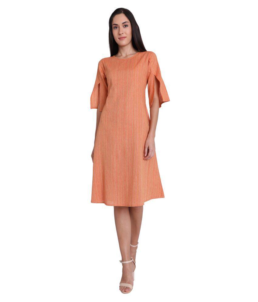 Leofab Cotton Orange Skater Dress