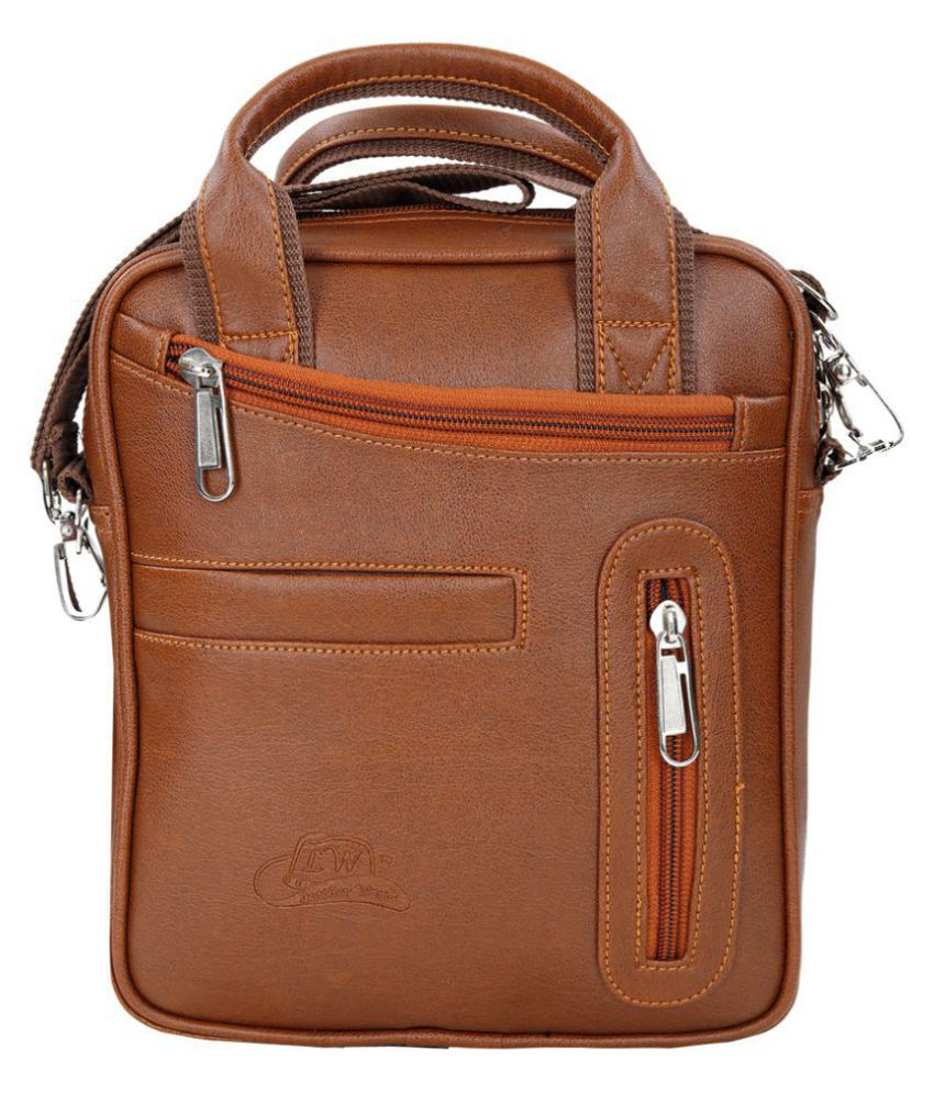 Leather World Sling Bag Tan Leather Casual Messenger Bag