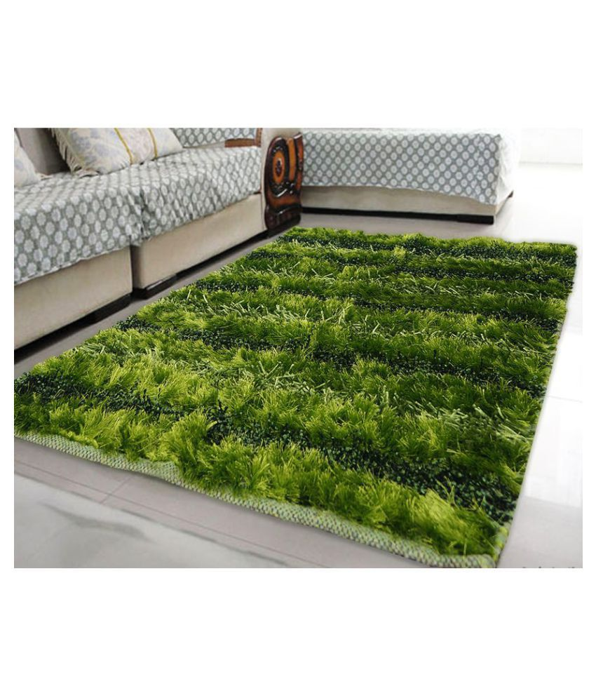 Story@Home Green Polyester Carpet Stripes 3x5 Ft