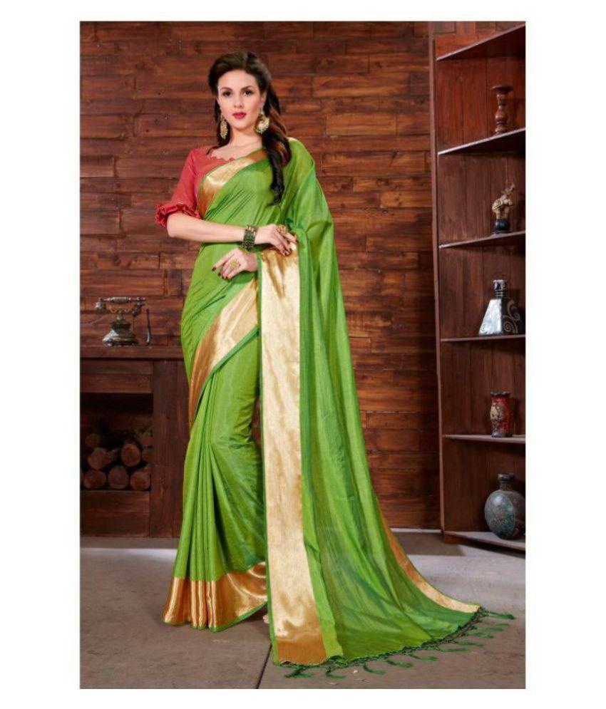Onlinefayda Green Silk Saree