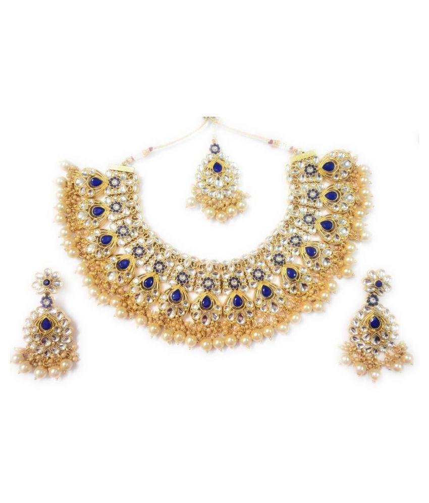 La Trendz Alloy Blue Choker Designer Gold Plated Necklaces Set