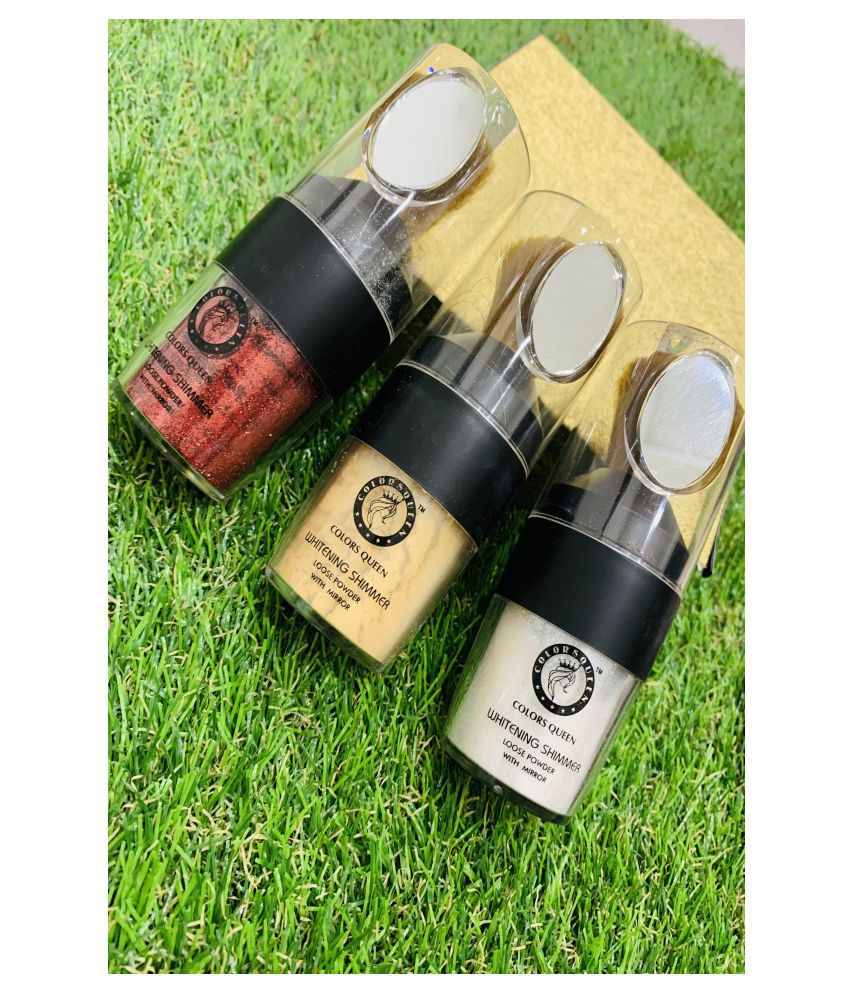 Colors Queen Whitening Shimmer Loose Powder With Mirror Loose Powder Medium SPF 15 Pack of 3 45 g