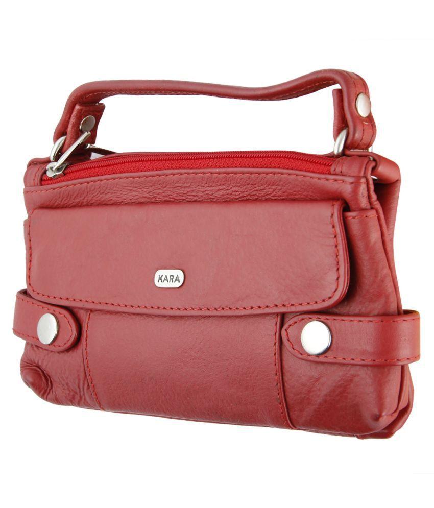 Kara Red Pure Leather Sling Bag