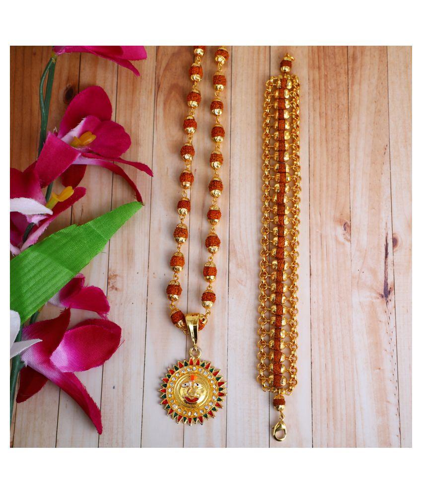 DIPALI  SURYADEV Locket With Puchmukhi Rudraksha Mala AND BRACELET Gold-plated Brass,FOR MEN AND BOYS