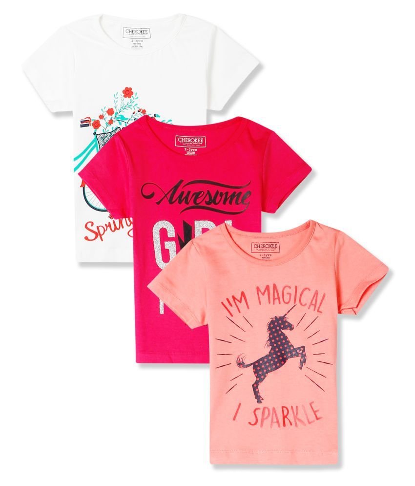 Girls Assorted Crew Neck Graphic T-Shirt - Pack Of 3