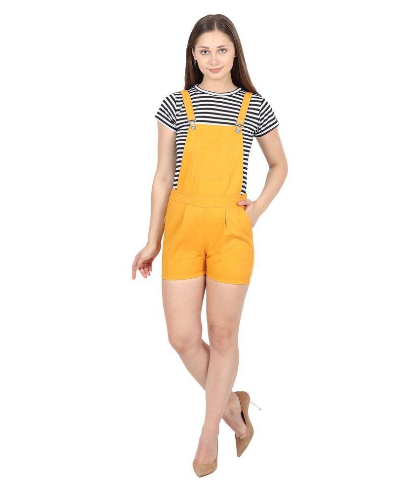FineCreations Yellow Cotton Jumpsuit