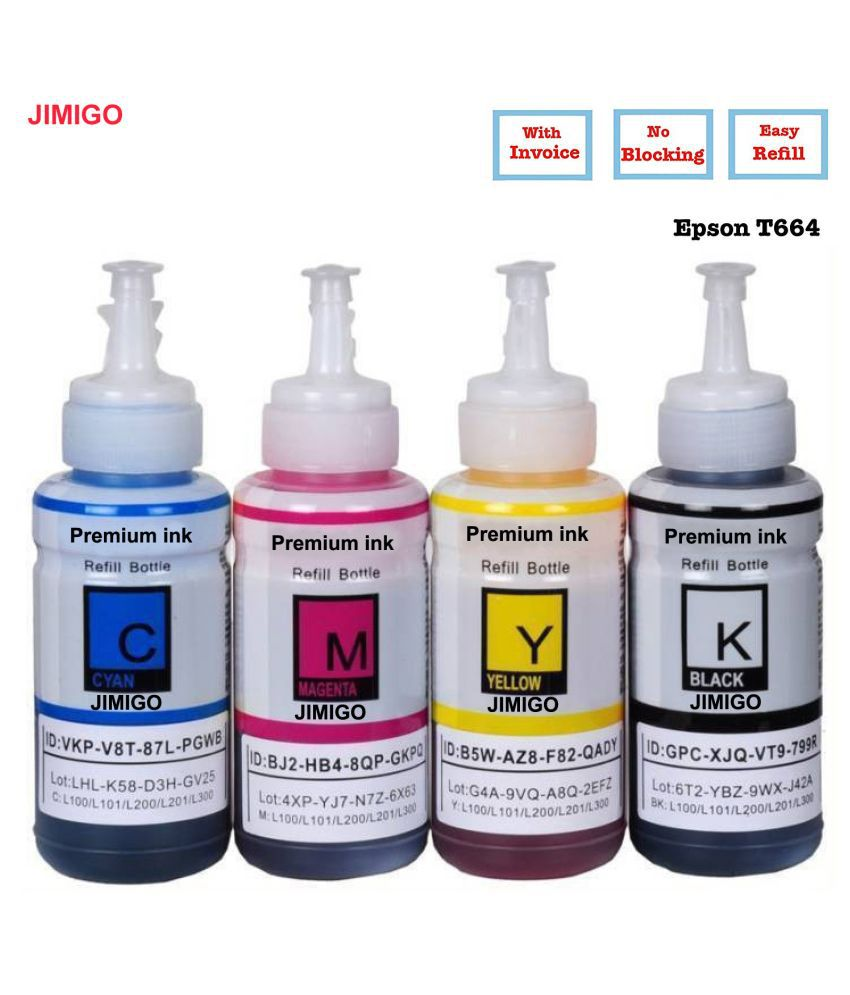 JIMIGO INK FOR EPSON L455 Multicolor Pack of 4 Ink bottle for Refill ink for Epson L130,L210,L220,L350,L360,L361,L365,L380,L385,L455,L485,L550,L555,L565