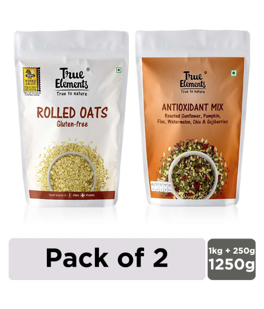 True Elements Rolled Oats 1kg + Antioxidant Mix Seeds 250gm Combo - Pack of 2
