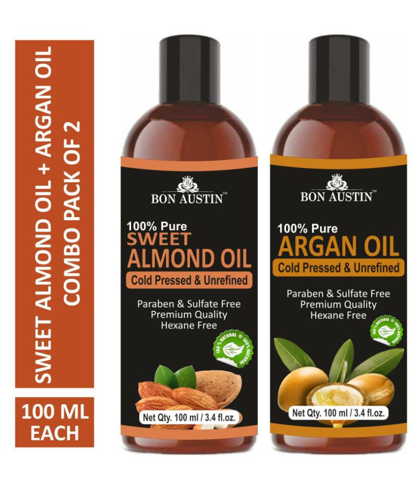 Bon Austin Premium Sweet Almond Oil &  Argan Oil - Cold Pressed & Unrefined Combo pack of 2 bottles of 100 ml(200 ml)