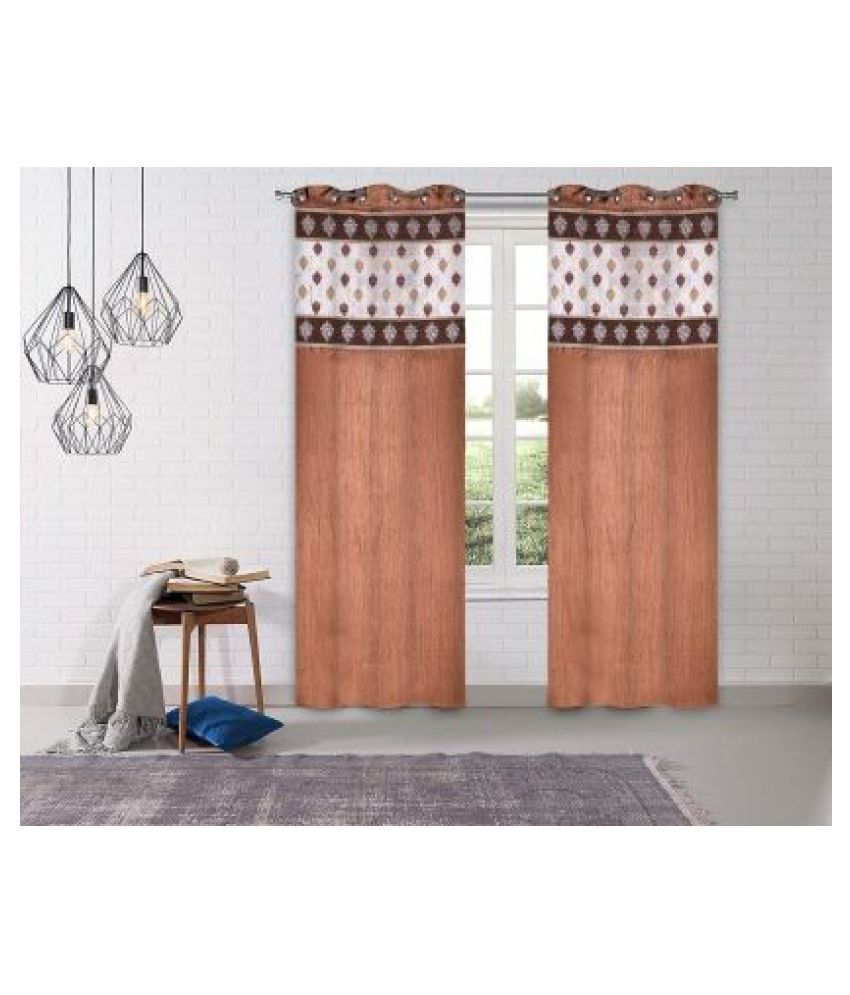 LINENS & DRAPES Set of 2 Window Blackout Room Darkening Eyelet Polyester Curtains Coffee