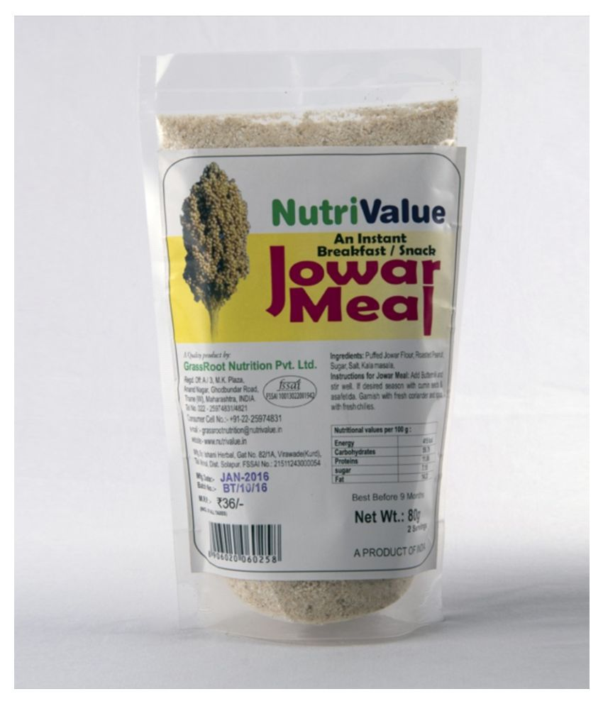 Nutri value Jowar meal  80 gm
