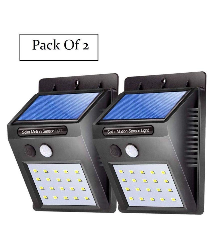 QUEEN ONE 20 LED Solar Light 12W Solar Garden Light - Pack of 2