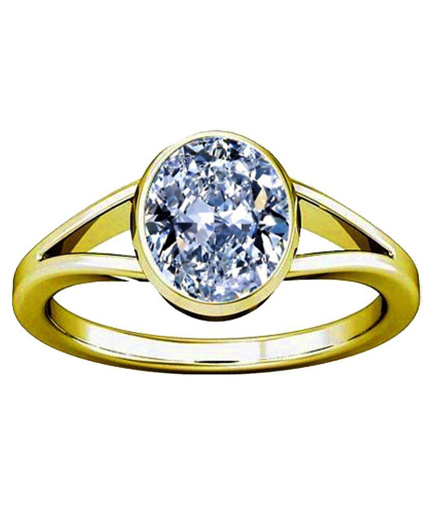 Divya Shakti 7.25 - 7.50 Ratti Round American Diamond Zircon Jerkan Panchadhatu Ring AAA Quality Gemstone