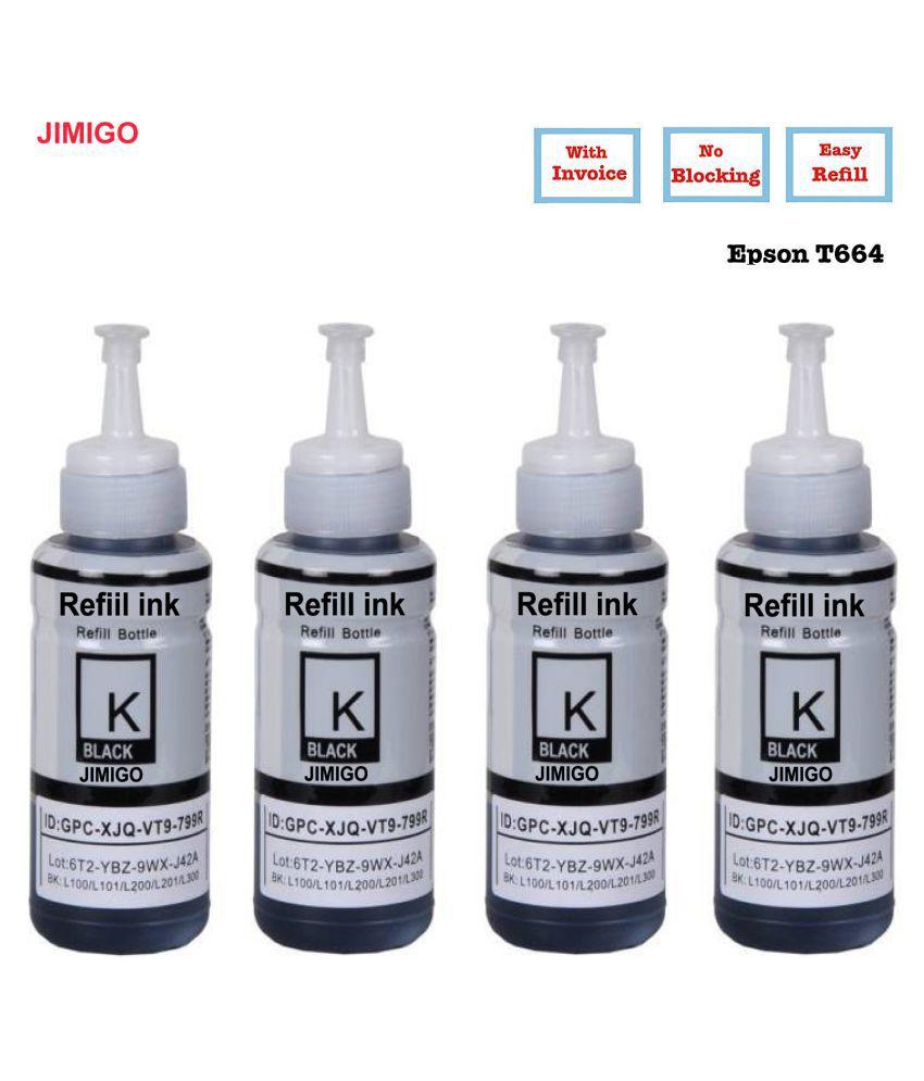 JIMIGO FOR EPSON L365  L385 Black Pack of 4 Ink bottle for Refill ink Epson L130,L210,L220,L350,L360,L361,L365,L380,L385,L455,L485,L550,L555,L565