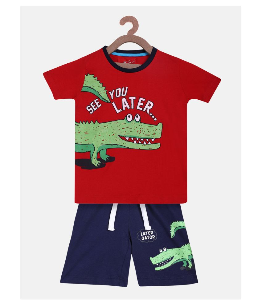 Lazy Shark Boys Alligator Print Red Clothing Set