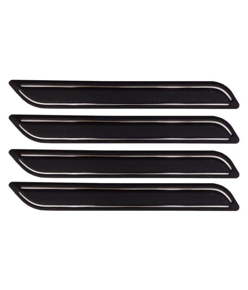 Ek Retail Shop Car Bumper Protector Guard with Double Chrome Strip (Light Weight) for Car 4 Pcs  Black for SkodaRapid1.6MPIAmbition