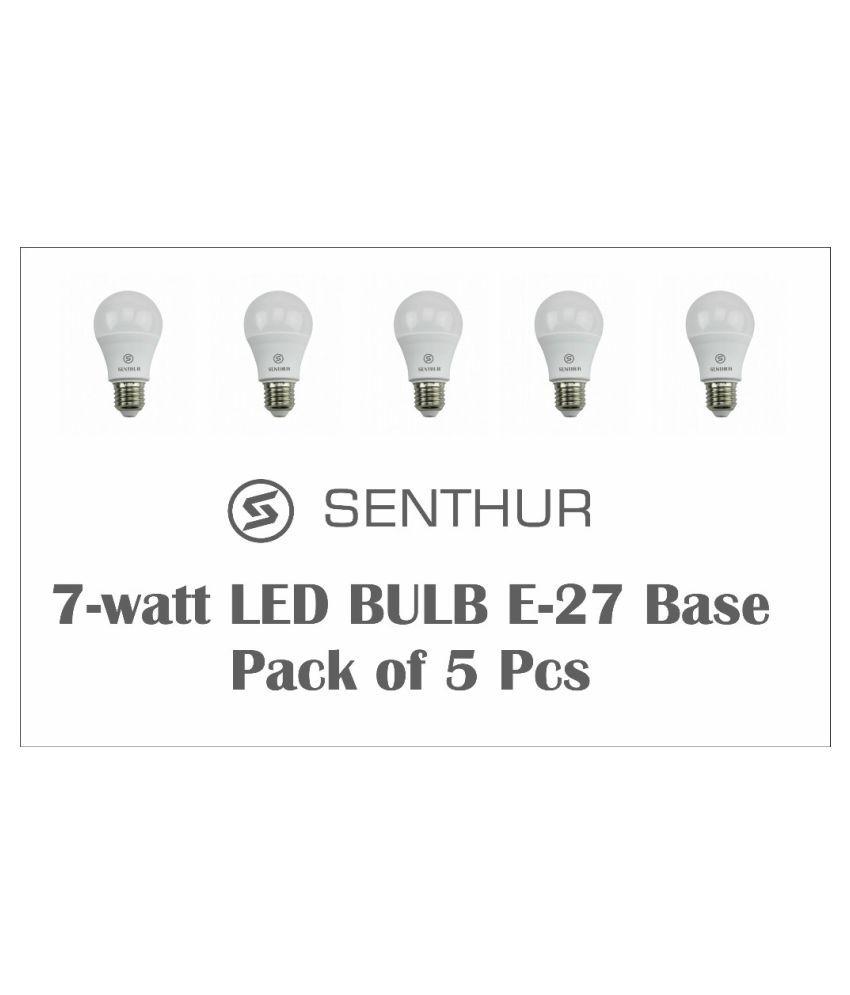 Senthur 7W LED Bulbs Cool Day Light - Pack of 5