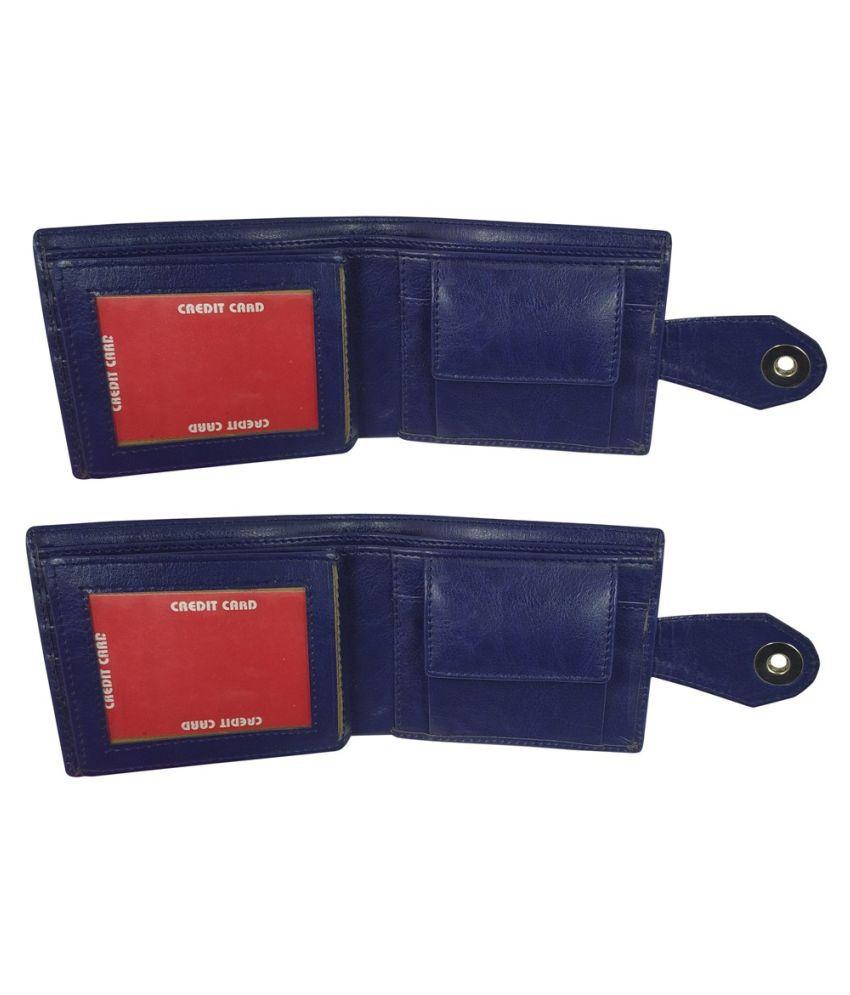 LYREM Faux Leather Blue Casual Regular Wallet