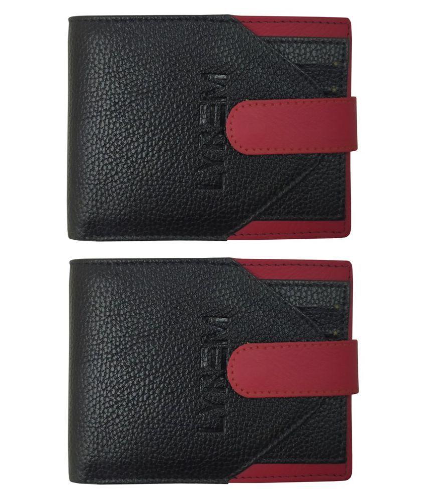 LYREM PU Black Casual Regular Wallet