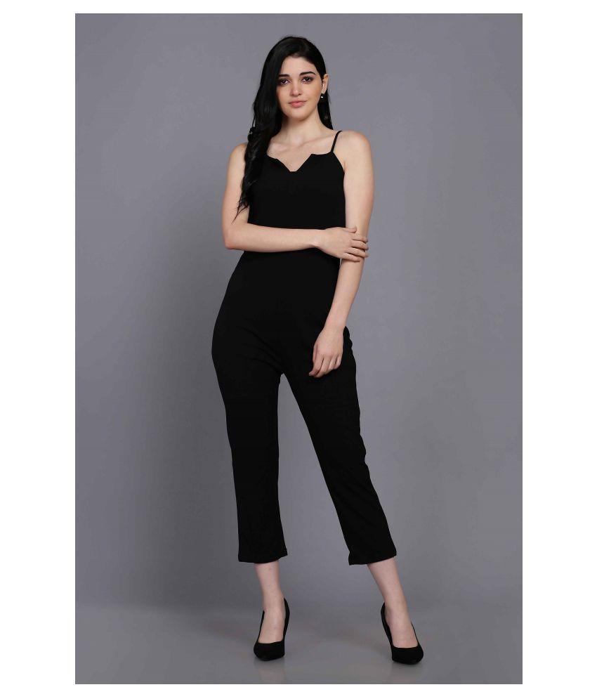 Stalk Black Polyester Jumpsuit