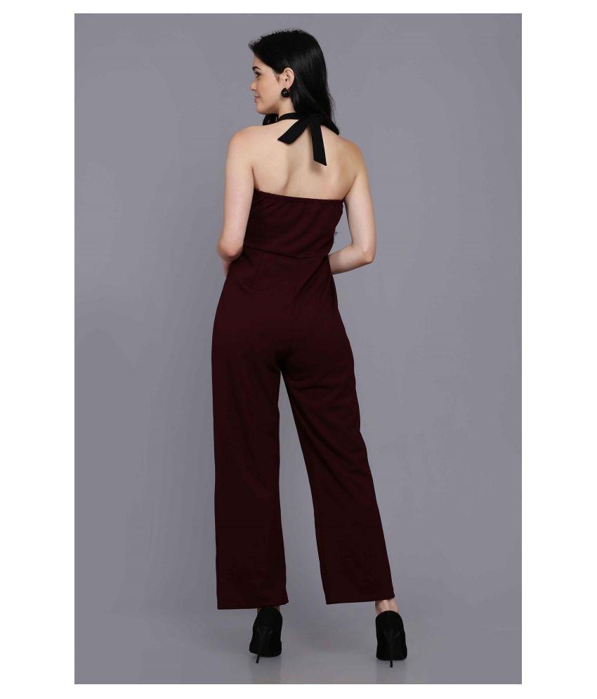 Stalk Maroon Polyester Jumpsuit