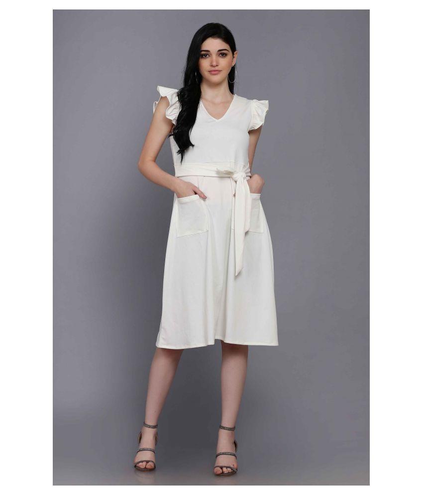 Stalk Polyester Off White Skater Dress