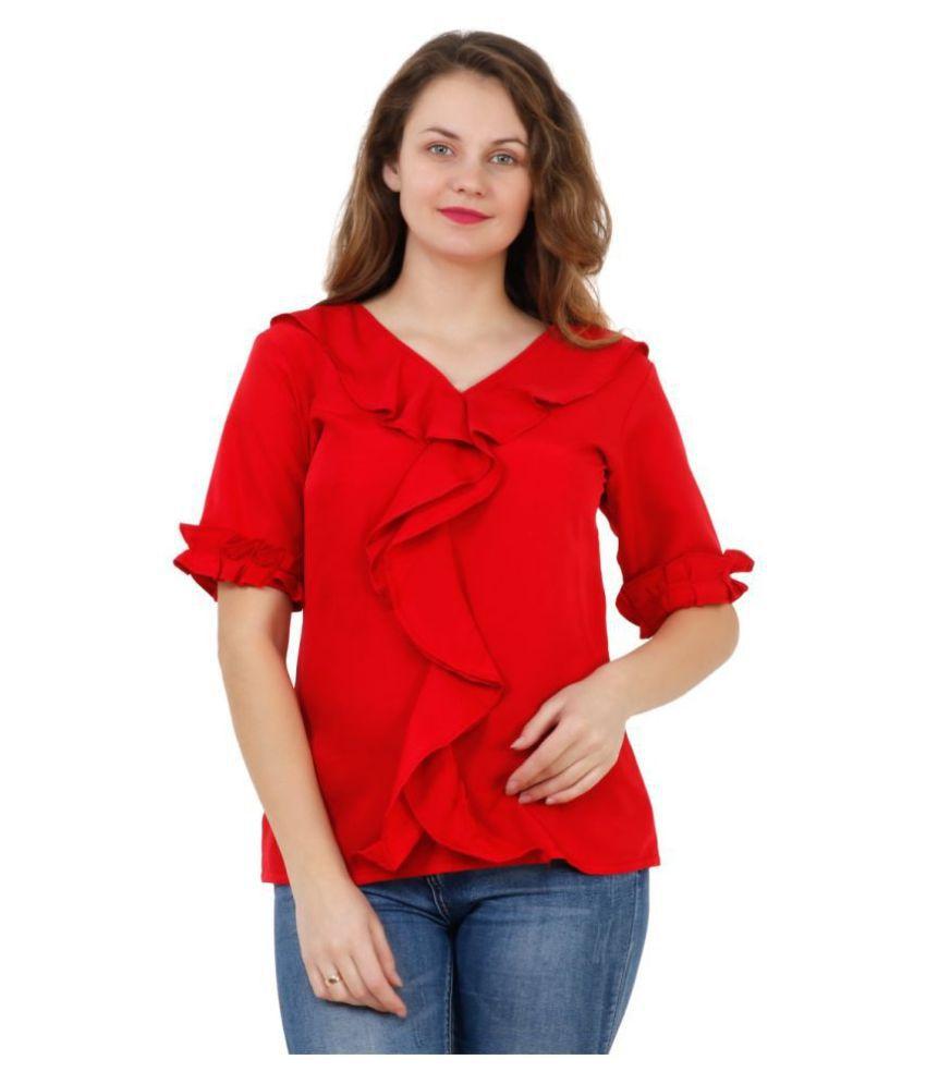 vihu Polyester Regular Tops - Red - Buy vihu Polyester ...