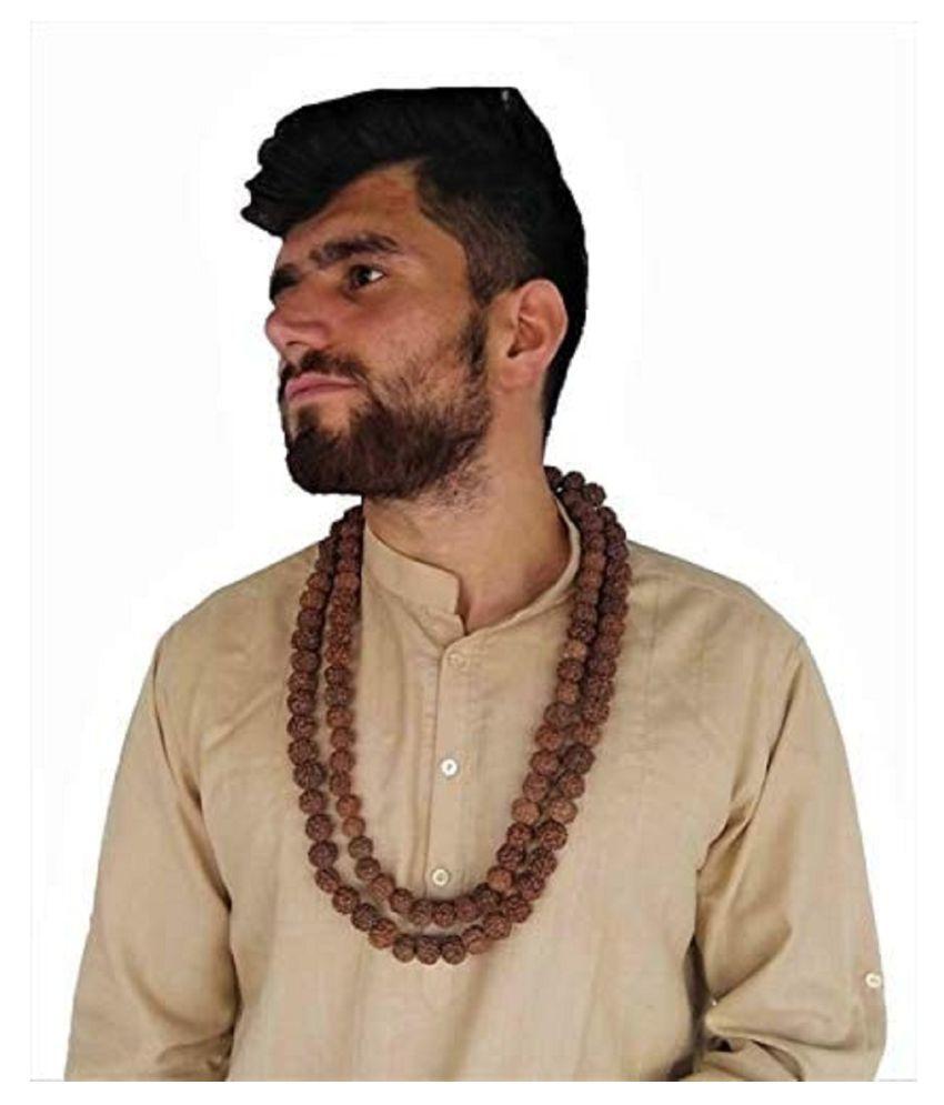 6 Mukhi Rudraksh Rudraksha Mala Natural 108+1 Beads (Brown) 16-18MM