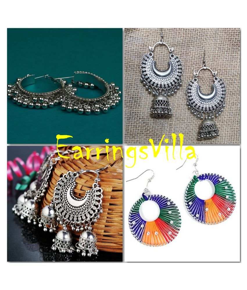 Exclusive Fashion Jewellery Silver Fashion Earrings For Girls and Women Combo of 4 Earrings
