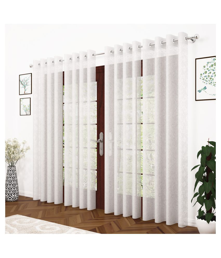 Story@Home Set of 4 Long Door Semi-Transparent Eyelet Polyester Curtains White