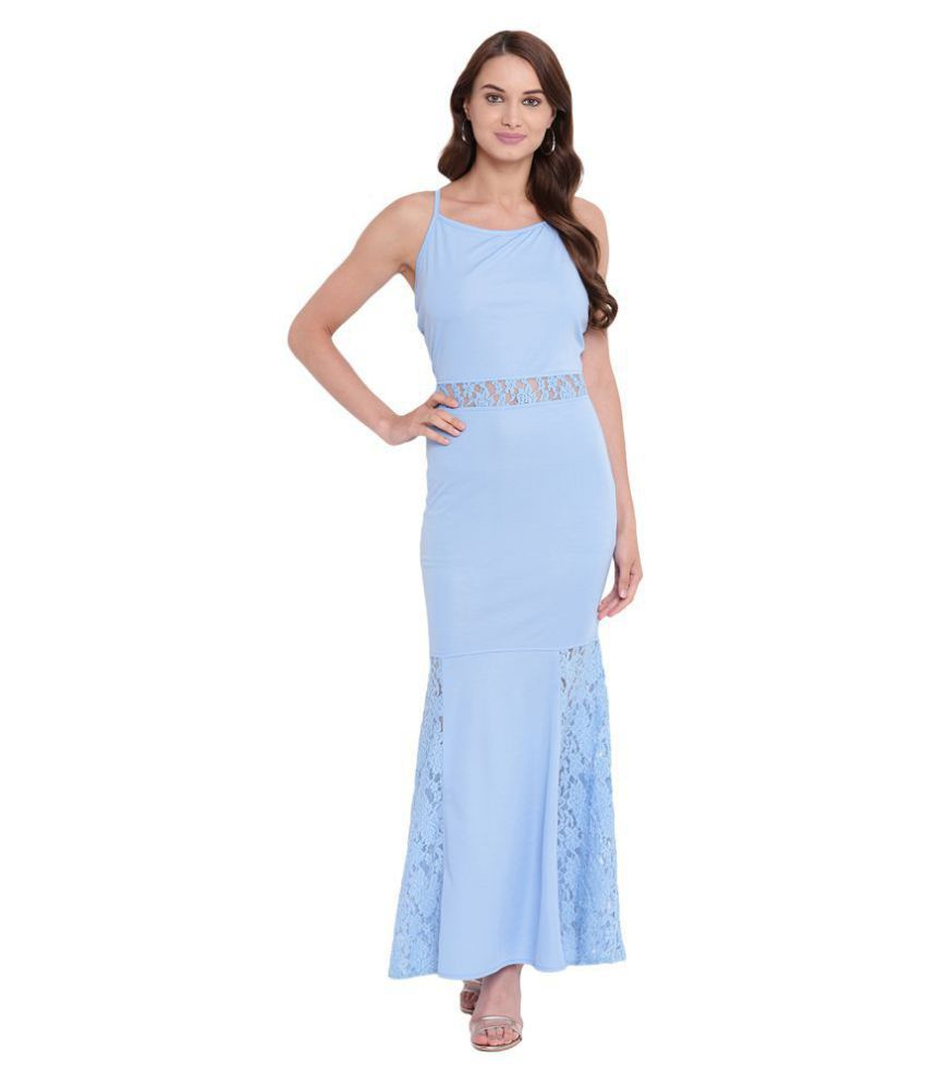 Texco Polyester Blue Fit And Flare Dress