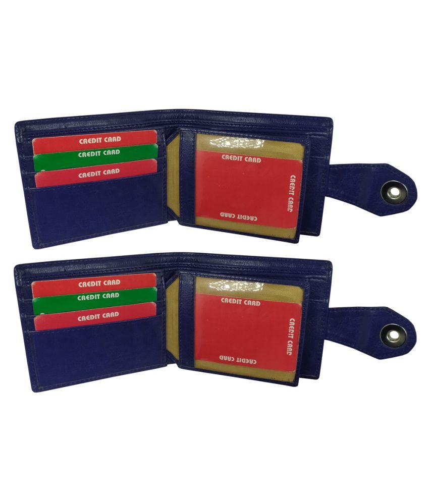 EBEZA Faux Leather Blue Casual Regular Wallet