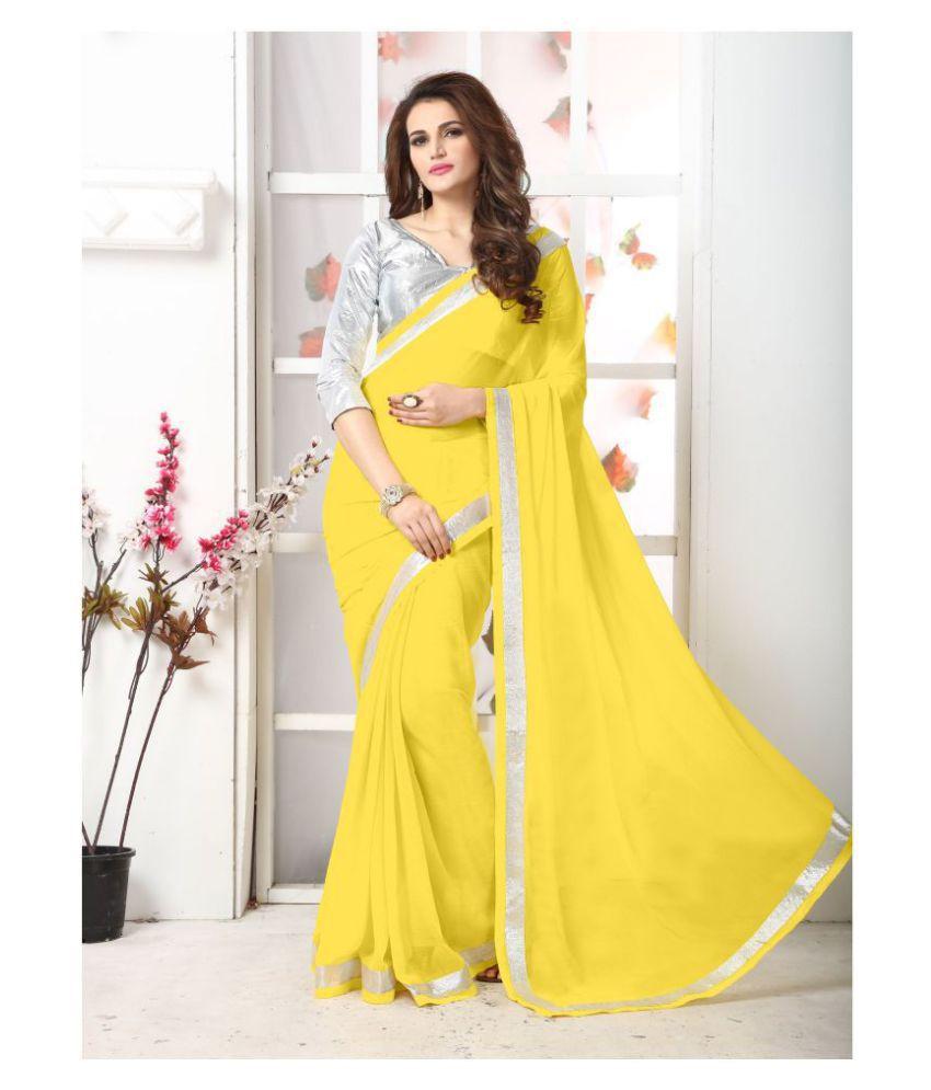 Onlinefayda Yellow Georgette Saree