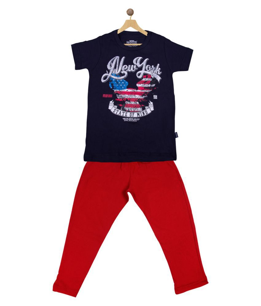 Proteens Boys Short Sleeves Black & Red Top & Bottom Set