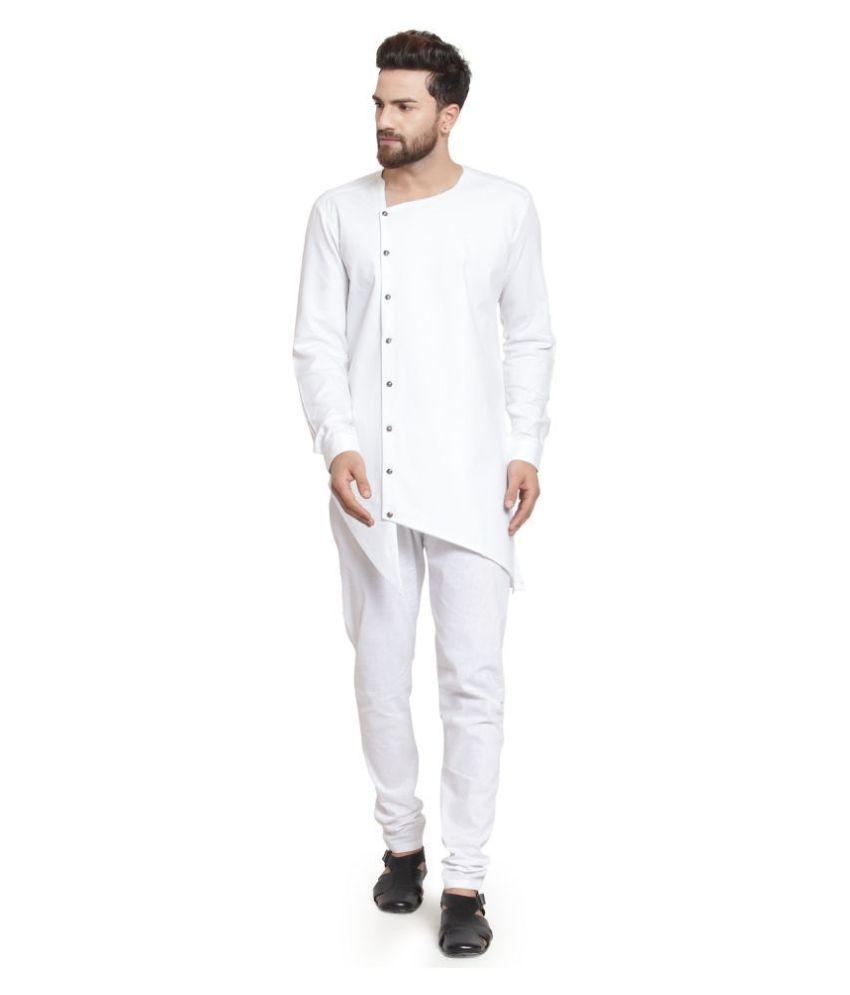 RG Designers White Cotton Kurta Pyjama Set