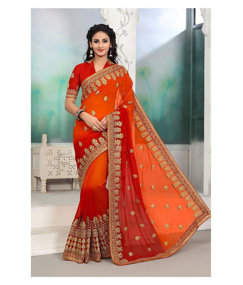 Onlinefayda Red,Orange Georgette Saree