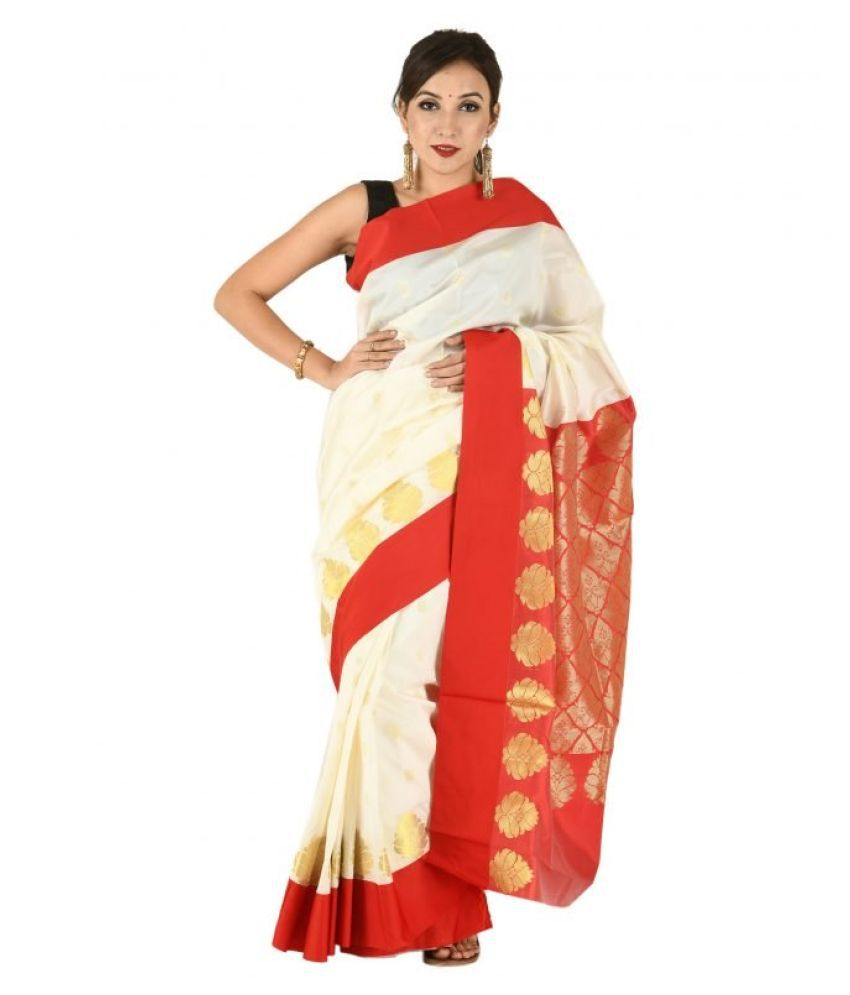 Tribes India Brown Cotton Blend Saree
