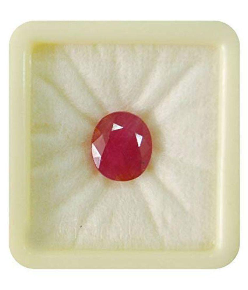 SARVNI GEMS  7.25 Ratti / 6.45 Carat Manik Stone Certified Natural Burma Ruby Loose Gemstone