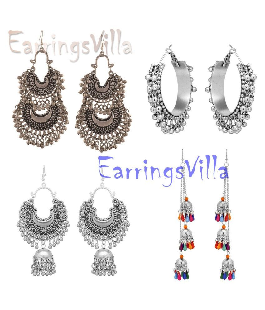 Trendy Exclusive Fashion Jewellery Silver Earrings For Girls and Women Combo of 4 Earrings